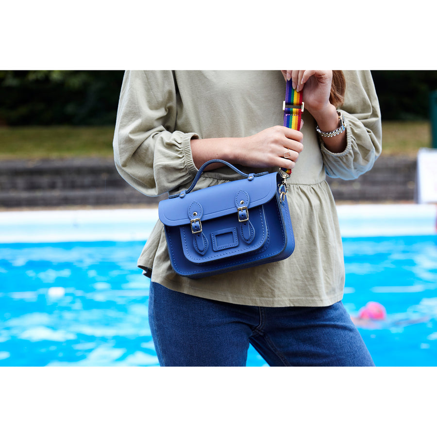Magnetic Mini Satchel in Leather - Italian Blue Matte with Rainbow Webbing Strap