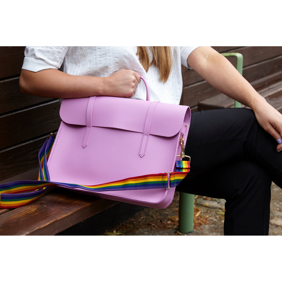 Womens- Music Case in Leather - Violet Matte with Rainbow Webbing Strap