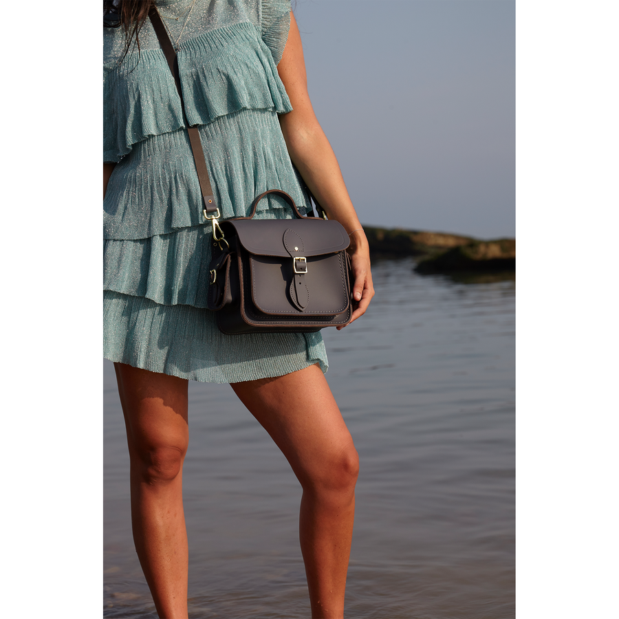 Womens-Traveller Bag with Side Pockets in Leather - Storm Matte | Unisex Cross Body Bag