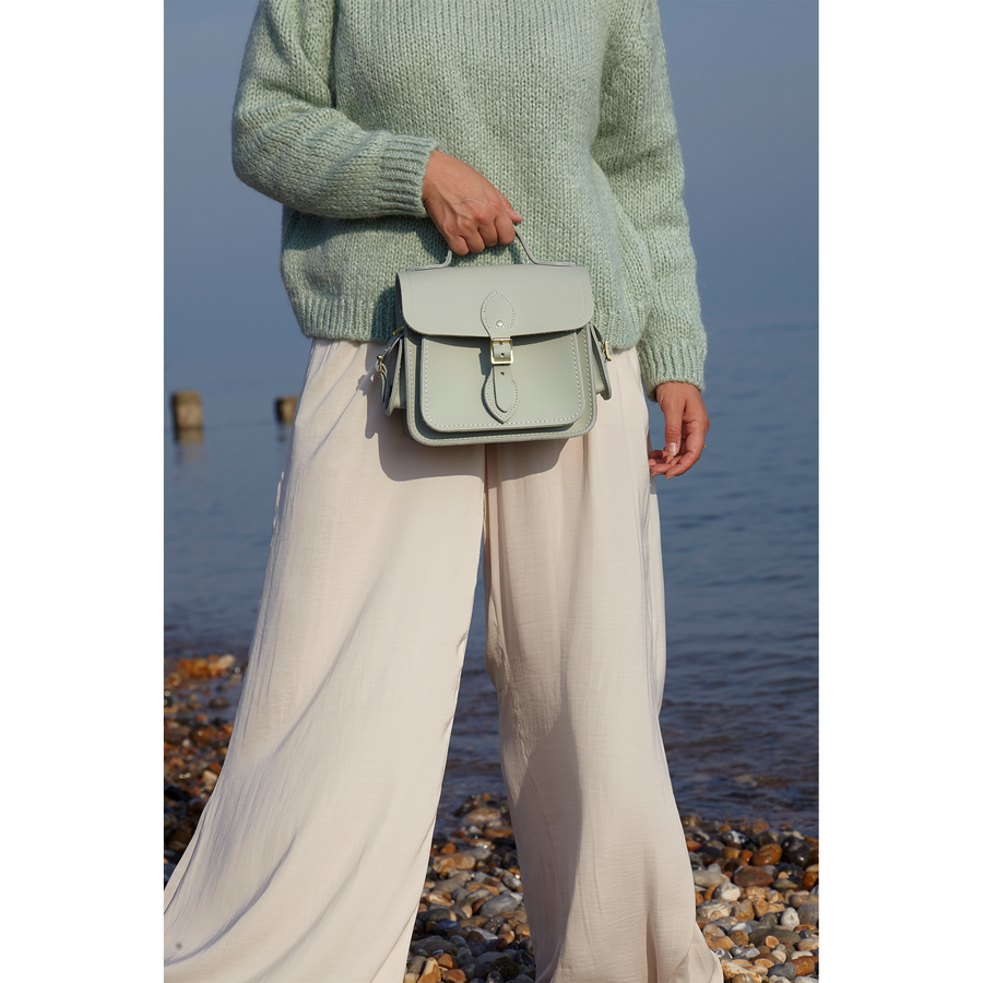 Womens-Traveller Bag with Side Pockets in Leather - Sea Foam Matte | Unisex Cross Body Bag
