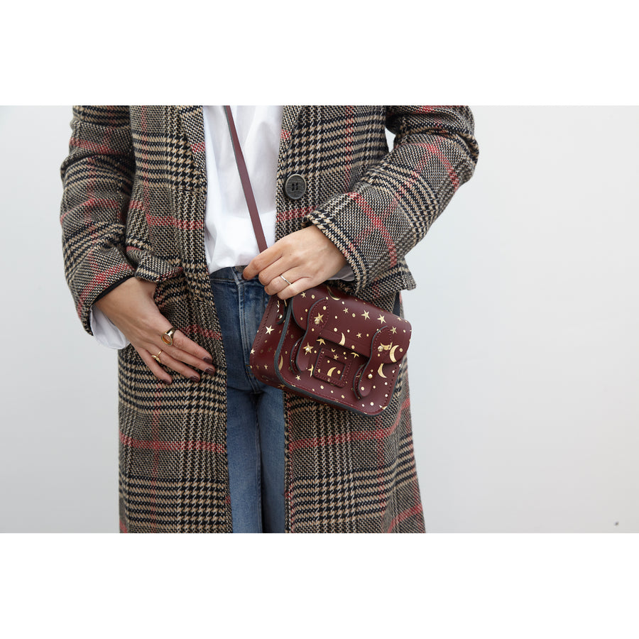 Starstruck on Oxblood Leather Tiny Cambridge Satchel Cross Body Bag