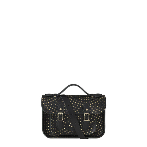 Mini Satchel in Leather - Gold Star Print on Black