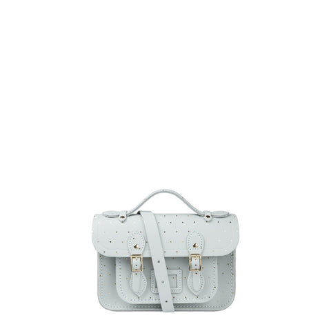 Mini Satchel in Leather - Metallic Dot Print on Eggshell