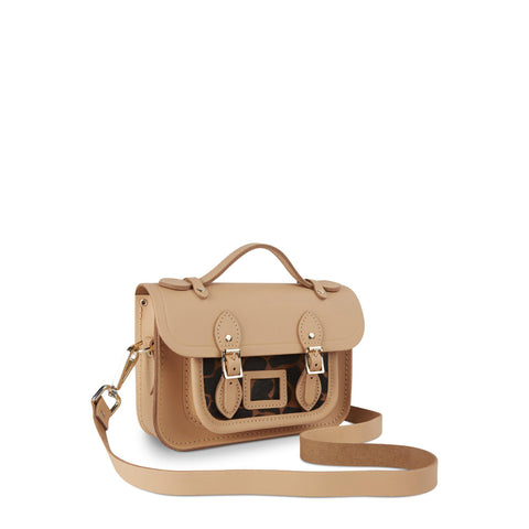 Magnetic Mini Satchel in Leather - Safari Sand with Leopard Print Haircalf Pocket
