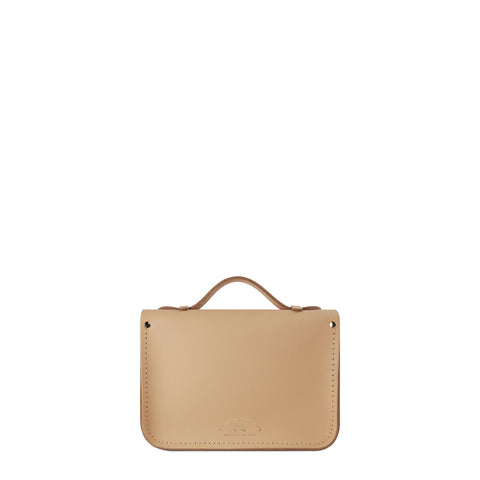 Magnetic Mini Satchel in Leather - Safari Sand with Leopard Print Haircalf Pocket - Cambridge Satchel