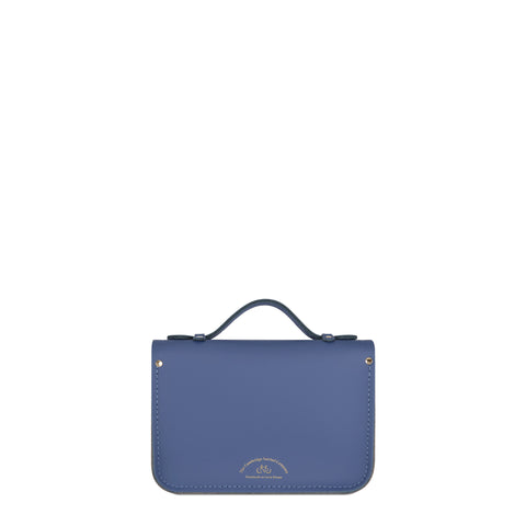 Magnetic Mini Satchel in Leather - Italian Blue Matte, French Grey & Clay