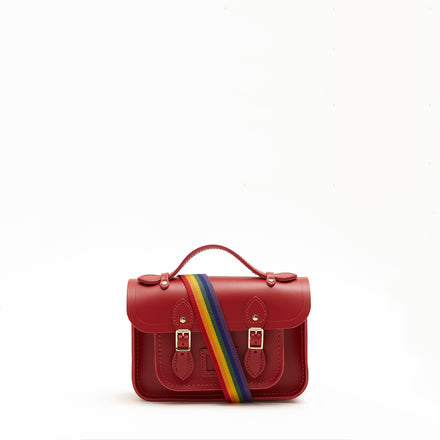 Magnetic Mini Satchel in Leather - Classic Red with Rainbow Webbing Strap