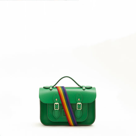 Magnetic Mini Satchel in Leather - Green with Rainbow Webbing Strap