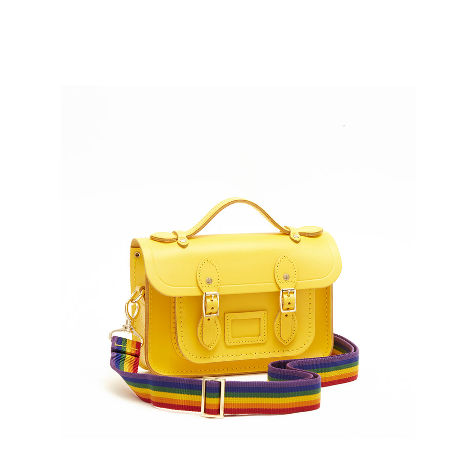Magnetic Mini Satchel in Leather - Spectra Yellow with Rainbow Webbing Strap