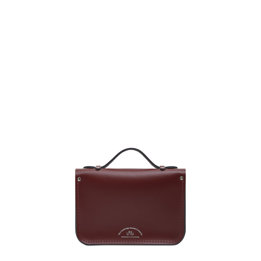 Magnetic Mini Satchel in Leather - Oxblood & Strome Stewart Black Tartan | Cambridge Satchel