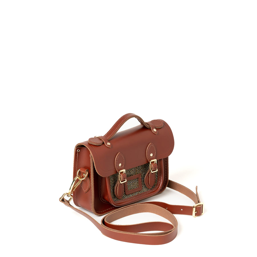 Magnetic Mini Satchel in Leather - Brandy with Green Tweed