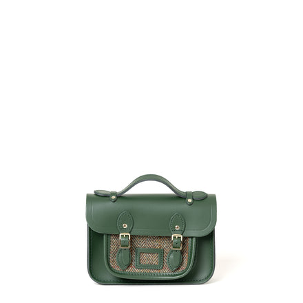 Magnetic Mini Satchel in Leather - Racing Green with Green Tweed