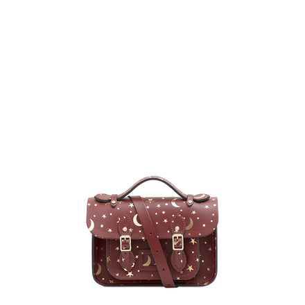 Magnetic Mini Satchel in Leather - Starstruck on Oxblood