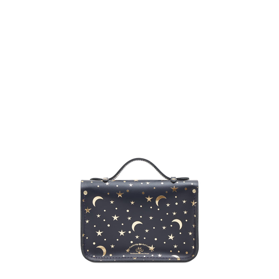 Magnetic Mini Satchel in Leather - Starstruck on Navy