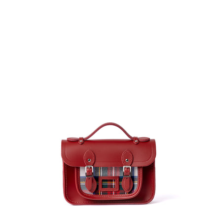 Magnetic Mini Satchel in Leather - Red & Red Tartan