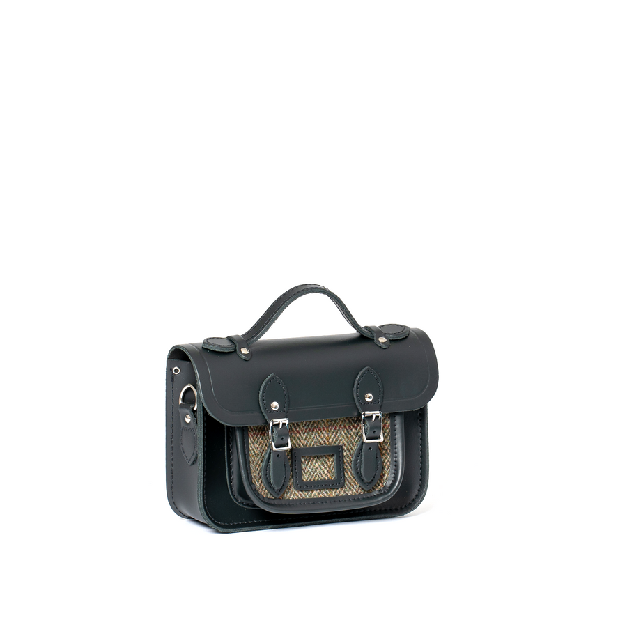 Magnetic Mini Satchel in Leather - Jet Green & Grey Tweed