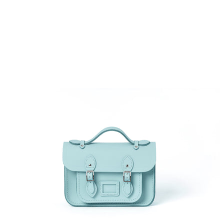 Magnetic Mini Satchel in Leather - Cambridge Blue