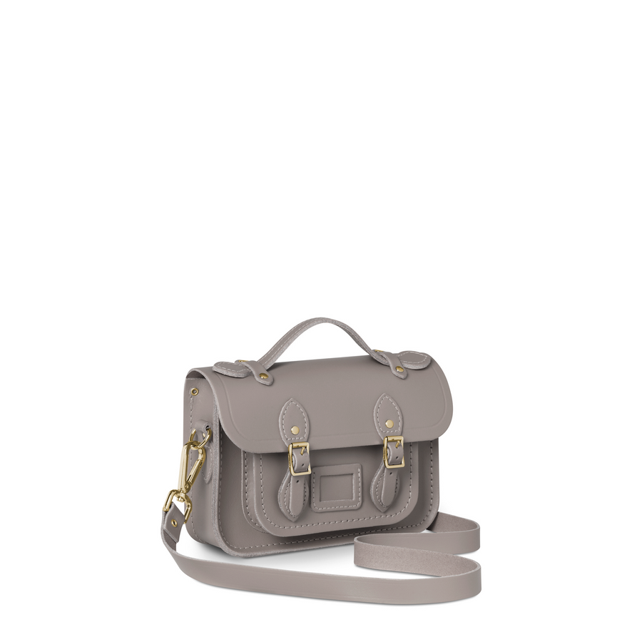 Magnetic Mini Satchel in Leather - Mink