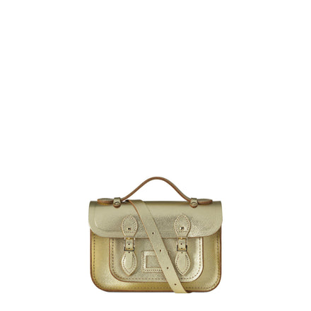 Gold Mini Cambridge Satchel Leather Cross Body Bag