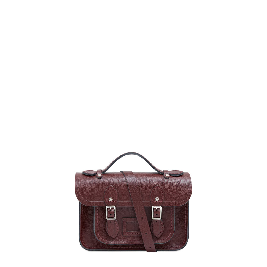 Magnetic Mini Satchel in Leather - Oxblood Saffiano