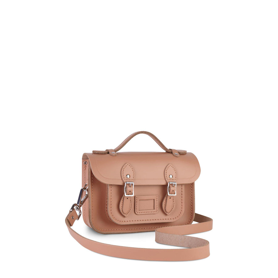Magnetic Mini Satchel in Leather - Terracotta