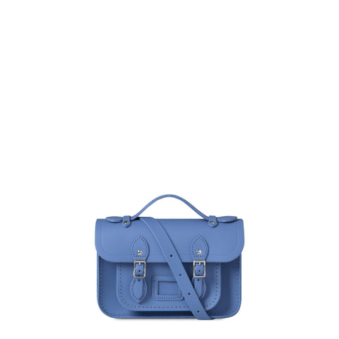 Magnetic Mini Satchel in Leather - Dutch Blue
