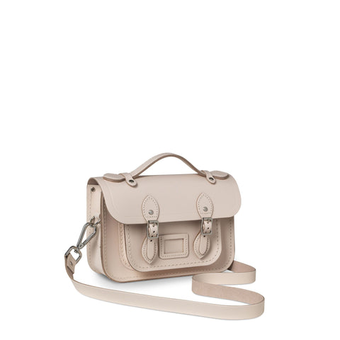 Magnetic Mini Satchel in Leather - Chalk