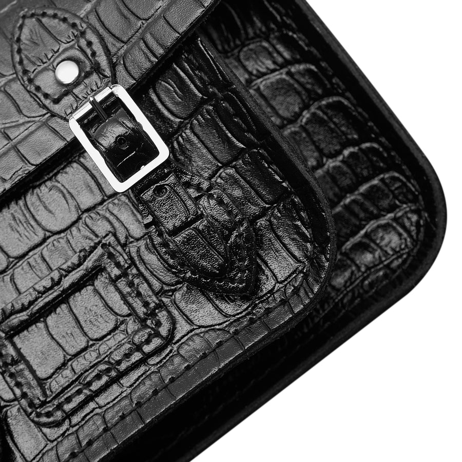 Magnetic Mini Satchel in Leather - Black Patent Croc