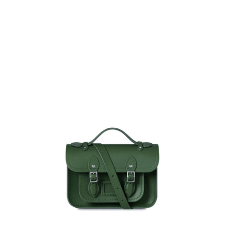 Magnetic Mini Satchel in Leather - Racing Green