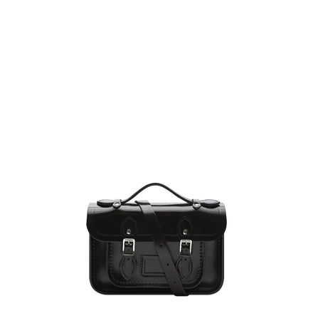 Magnetic Mini Satchel in Leather - Patent Black