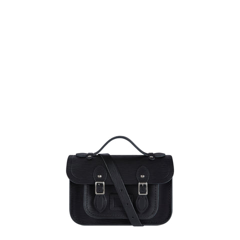 Magnetic Mini Satchel in Leather - Black Stripe Grain