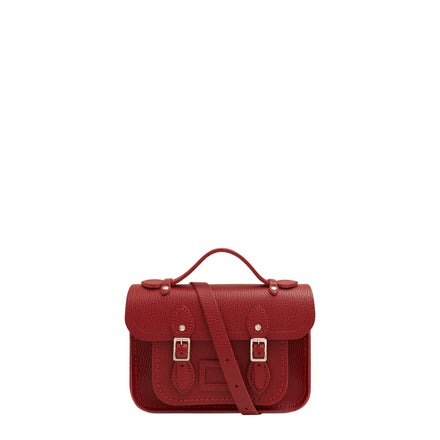 Magnetic Mini Satchel in Leather - Red Celtic Grain