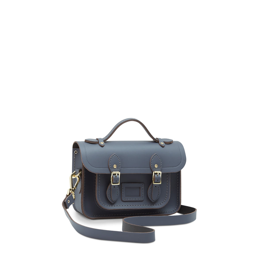 Mini Satchel in Leather - Storm Matte | Women's Handbag & Cross Body Bag