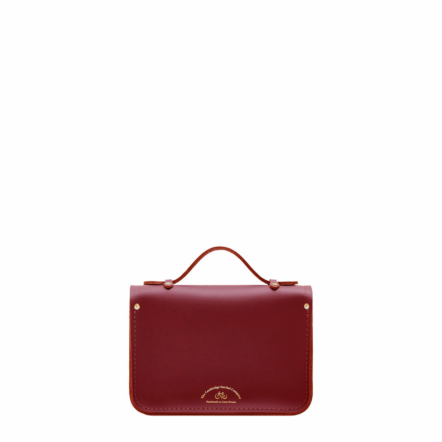 Magnetic Mini Satchel in Leather - Rhubarb Red