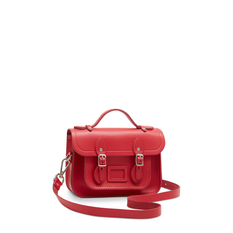 Magnetic Mini Satchel in Leather - Red Berry