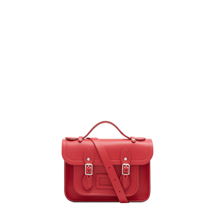 Red Mini Cambridge Satchel Leather Cross Body Bag