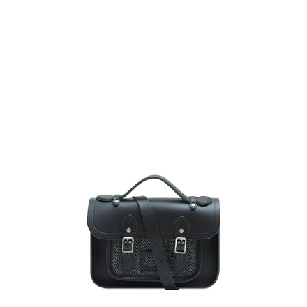 Magnetic Mini Satchel in Leather - Black with Grey Tweed | Cambridge Satchel
