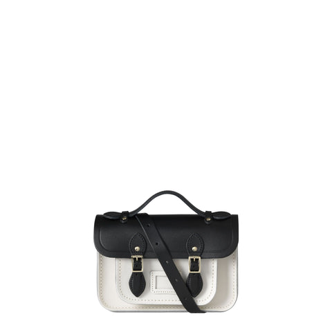 Magnetic Mini Satchel in Leather - Black & Clay