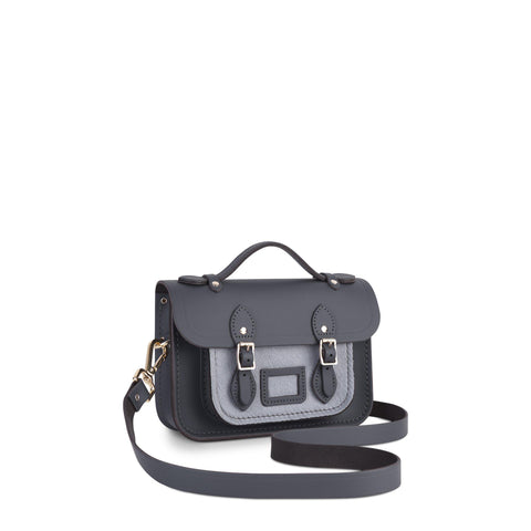 Magnetic Mini Satchel in Leather - Dapple Matte and Grey Haircalf Pocket