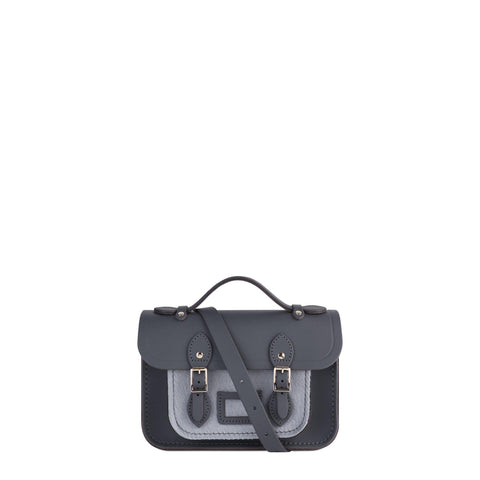 Magnetic Mini Satchel in Leather - Dapple Matte and Grey Haircalf Pocket - Cambridge Satchel