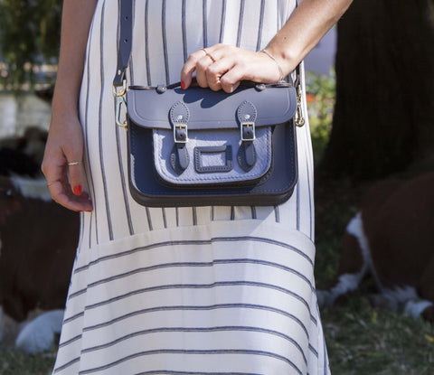 Womens - Magnetic Mini Satchel in Leather - Dapple Matte and Grey Haircalf Pocket - Cambridge Satchel