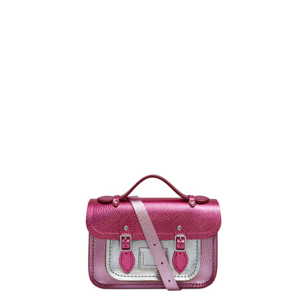 Magnetic Mini Satchel in Leather - Dark Fuschia, Light Fuschia & Silver Metallic Foil Celtic Grain