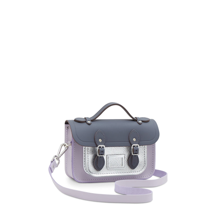 Magnetic Mini Satchel in Leather - Storm Matte, Parma Violet Matte & Silver Celtic Grain