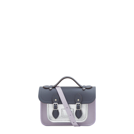 Grey Mini Cambridge Satchel Leather Cross Body Bag