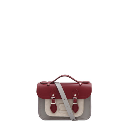 Magnetic Mini Satchel in Leather - Rhubarb Red, Stone & Clay Saffiano