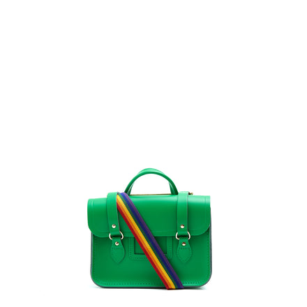 Melody Bag In Leather - Green & Rainbow Webbing Strap | Cambridge Satchel Company