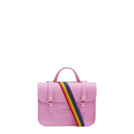 Melody Bag In Leather - Violet Matte with Rainbow Webbing Strap