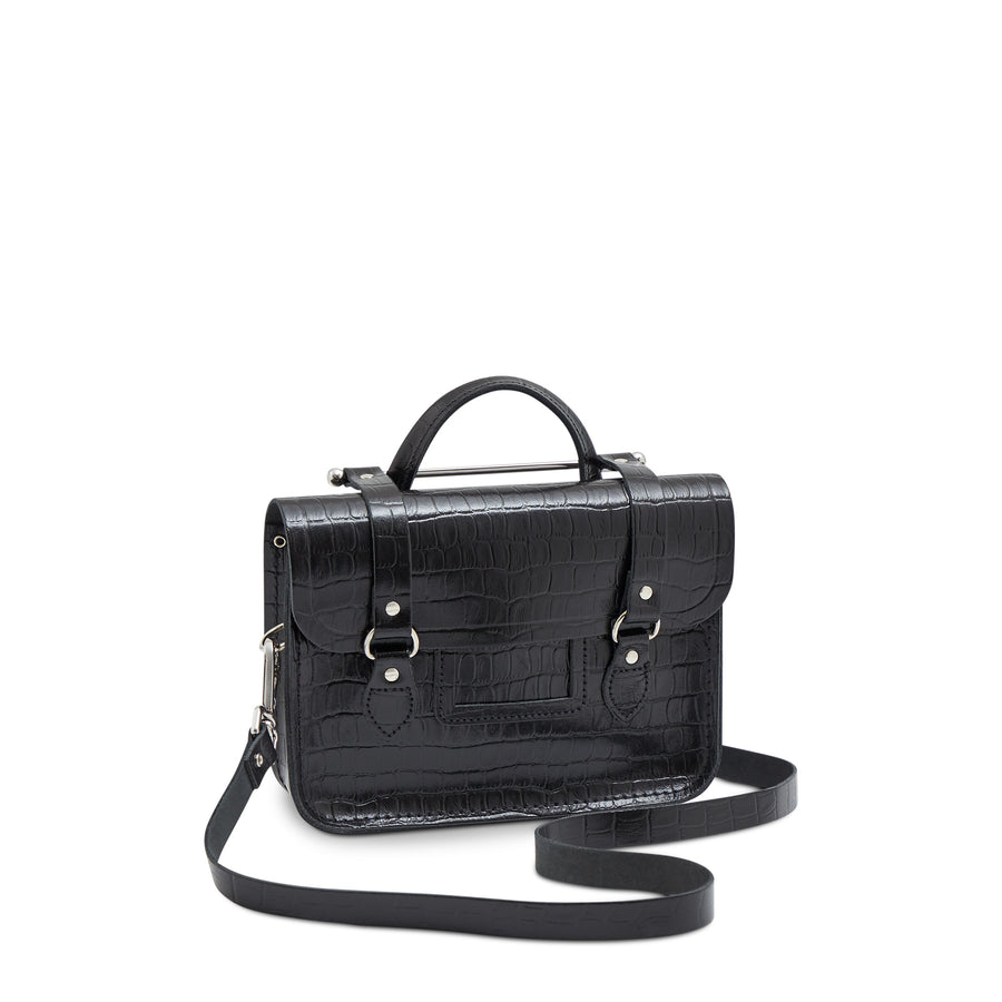 Melody Bag In Leather - Black Patent Croc