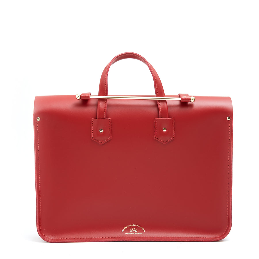 Music Case in Leather - Classic Red & Rainbow Webbing Strap | Cambridge Satchel Company
