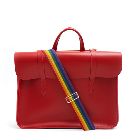 Music Case in Leather - Classic Red with Rainbow Webbing Strap